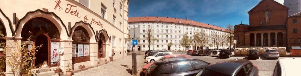 Aussenansicht Frühling Tête à porter Friseure München